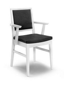 Gaia PL-I, Chaise avec accoudoirs, en bois, rembourré, pour le salon