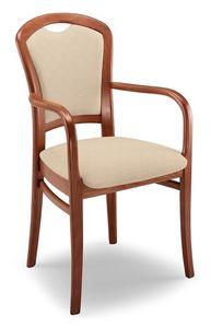 Giusy PL I, Chaise rembourrée robuste avec accoudoirs, base de hêtre