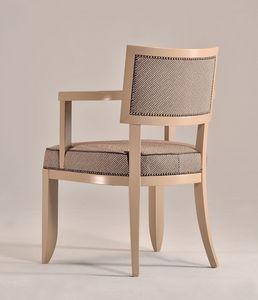 HOLLY Fauteuil 8381A, Hêtre chaise en bois avec accoudoirs, rembourré, pour les cuisines