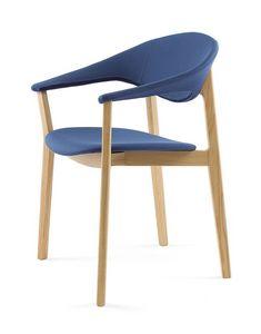 Lene P/FU, Chaise design avec accoudoirs, essentielle, rembourré
