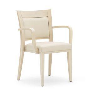 Logica 00927, Chaise empilable, assise et dossier rembourrés, structure en bois, pour l'usage de contrat