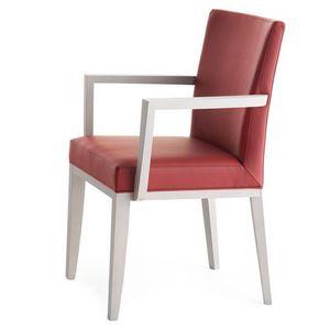 Logica 00935, Fauteuil en bois massif avec les bras, assise et dossier rembourrés, pour contrat et l'usage domestique