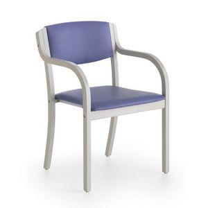 Marta 03 P, Chaise avec accoudoirs rembourrés avec des couleurs vives pour les cuisines
