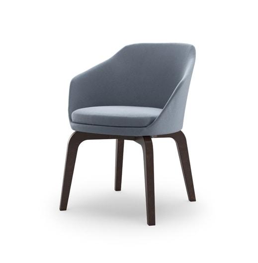 Nicki, Chaise avec revêtement en cuir double tissu