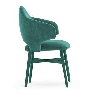 Niky 04721, Petit fauteuil enveloppant avec pieds en bois