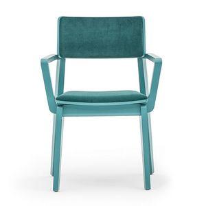 Offset 02823, Fauteuil en bois massif, assise et dossier rembourrés, dans un style moderne.