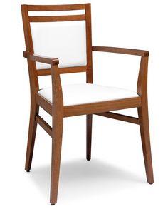 PL 4472 / CP, Fauteuil en bois, assise et dossier rembourrés, pour les restaurants