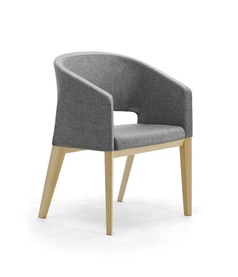 Reef 4G bois, Chaise rembourrée avec jambes en bois, en style minimal