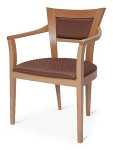 Roby, Chaise en hêtre avec accoudoirs, pour une utilisation du contrat