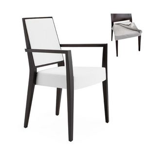 Timberly 01725, Fauteuil avec bras avec cadre en bois massif, assise et dossier rembourrés, tissu siège amovible, pour le contrat et l'usage domestique