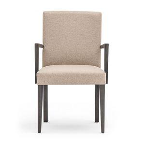 Zenith 01621, Fauteuil avec bras avec cadre en bois, assise et dossier rembourrés, revêtement en tissu, pour le contrat et l'usage domestique