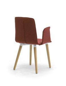 Zerosedici 4G bois, Chaise moderne rembourrée avec jambes coniques en bois