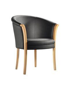 C41, Fauteuil en cadre en bois, assise et dossier rembourrés, revêtement en cuir, pour l'usage de contrat
