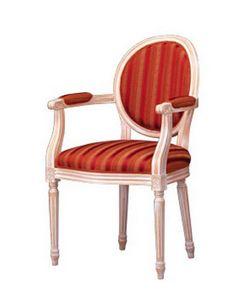 1053, Chaise classique avec accoudoirs, rembourré, pour le salon