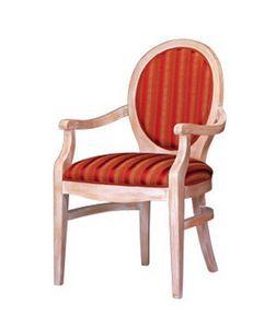 1080, Fauteuil classique en bois de hêtre avec le dos ovale