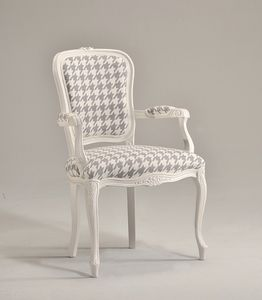 BRIANZOLA chaise avec accoudoirs 8017A, Chef de la chaise de table, rembourré, en hêtre, pour la réception