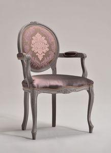 BRIANZOLA OVALE chaise avec accoudoirs 8018A, Chaise de style Louis XV, arrière ovale, pour les hôtels