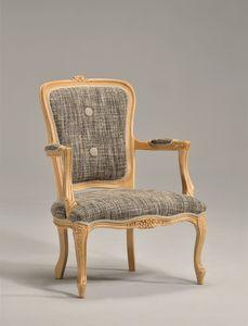BRIANZOLO Fauteuil 8040A, Chaise classique en bois, fait à la main, pour la réception