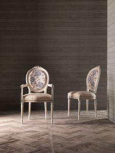 CARLA' fauteuil 8662A, Chaise avec accoudoirs, médaillon dossier, pour meubles navale