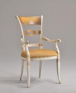CHIMERA armchair 8524A, Fauteuil de style classique avec dossier en bois sculpté