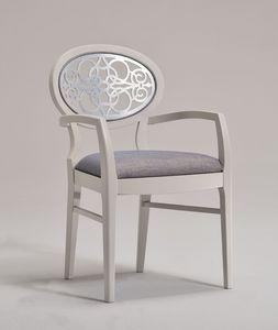 CLAIRE armchair 8391A, Fauteuil avec dossier sculpté ovale, style classique