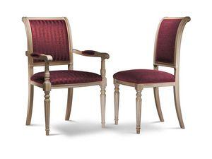 GABRY chaise avec accoudoirs 8257A, Chaise avec accoudoirs en bois de hêtre, rembourrées, différentes finitions