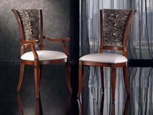 IRIS armchair 8523A, Chaise en bois avec rembourrage, tête de la table