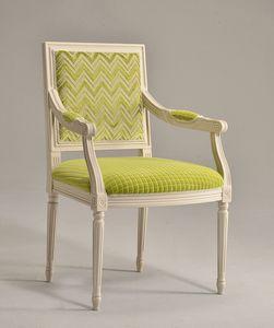 LUIGI XVI QUADRA armchair 8019A, Chaise chef de la table, en hêtre massif, pour les salles à manger