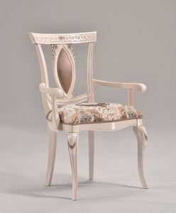 MICHY armchair 8169A, Fauteuil de luxe avec accoudoirs en bois sculpté