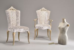 MISSIS fauteuil 8619A, Chaise classique avec les bras, avec dossier sculpté