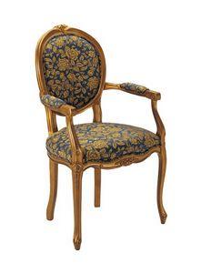 S06, Chaise en bois, rembourré, motif floral sur le revêtement