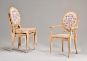 TATI armchair 8084A, Chaise empilable avec accoudoirs, assise rembourrée