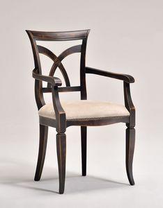 VICTORY armchair 8092A, Fauteuil avec accoudoirs, en hêtre, assise rembourrée