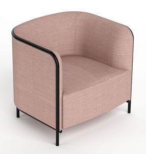 Place fauteuil, Fauteuil recouvert en simili cuir, structure métallique
