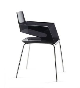B32 4L, Chaise avec coque en nylon, design contemporain, base en métal