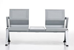 Aira, Banc en tôle d'aluminium peint pour salles d'attente
