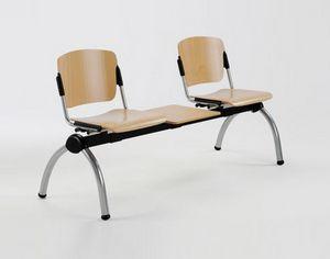Cortina movable bench with table, Banc de métal avec sièges en contreplaqué pour salles d'attente