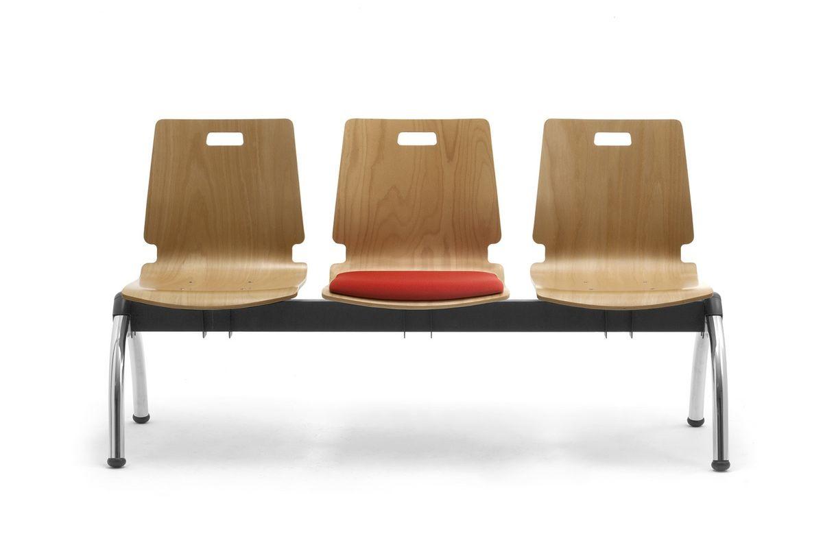 Cristallo bench with table, Banc avec sièges en contreplaqué, pour les salles d'attente