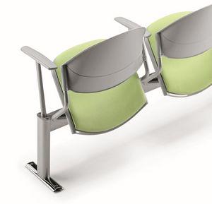DELFI A086, Chaise sur poutre, siège rembourré, pour les salles d'attente