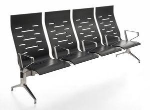 Keyport, Chaise sur poutre, en acier et polyuréthane, pour les salles d'attente