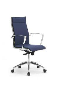 Origami LX, Chaise rembourrée pour bureau avec accoudoirs chromés