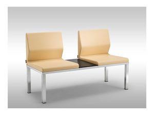 Tre-Di 2 seats sofa with table 9990310, Banc avec sièges rembourrés et une table pour salles d'attente