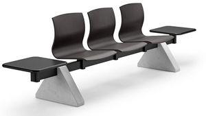 WEBWOOD 357 B3T2 + OPT, Banc pour les zones d'attente avec 3 sièges et 2 tables