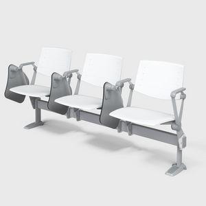 ZERO9 CONTRACT, Bancs avec table à la poutre, dossier inclinable en bois ou en polypropylène ignifuge, pour salle de conférence et salle de classe du collège