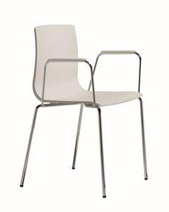 Alice chaise à bras, Fauteuil en métal et en plastique, ergonomique