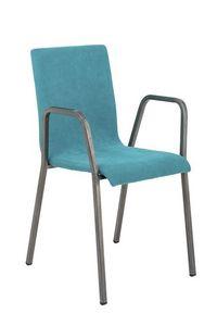 Art.Niù chaise avec accoudoirs, Chaise en métal avec assise et dossier rembourrés