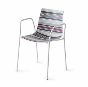 Colorfive TB, Chaise design avec accoudoirs, base de métal chromé