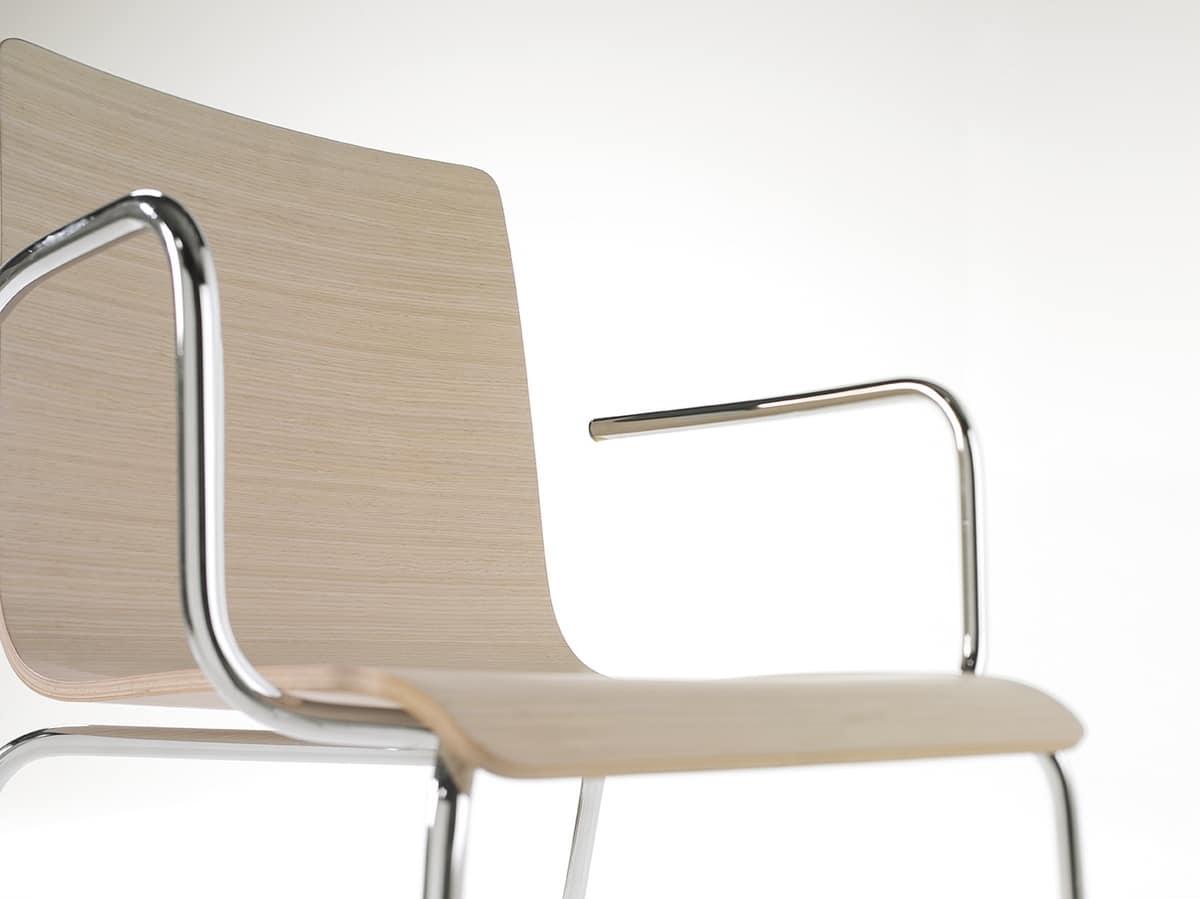 Tesa wood AR, Chaise en métal empilable, coquille de placage de bois