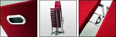 Flair 17/1A, Chaise empilable avec système d'accueil, pour la conférence