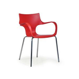 Jim, Chaise en polypropylène avec accoudoirs, pour les salles d'attente